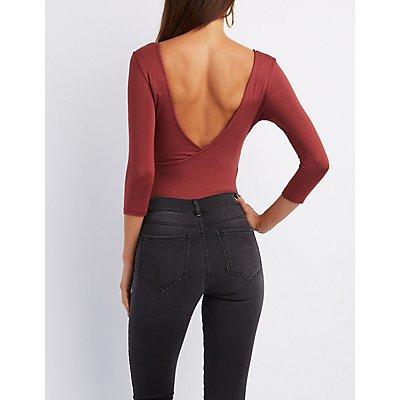 Scoop Neck Wrap-Back Bodysuit