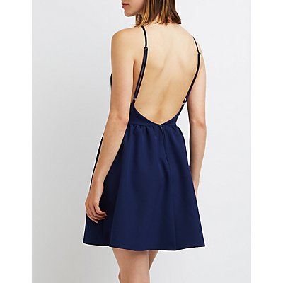 Bib Neck Backless Skater Dress