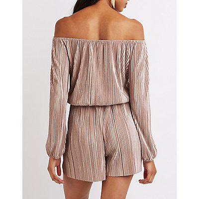 Micro Pleated Off-The-Shoulder Romper