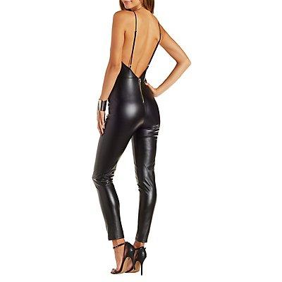 Faux Leather Bib Neck Jumpsuit