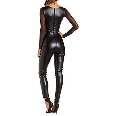 Faux Leather & Mesh Jumpsuit