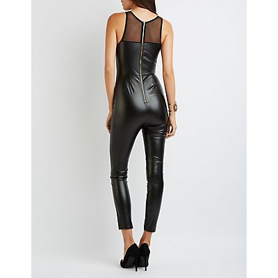 Faux Leather Mesh-Trim Jumpsuit