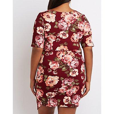 Plus Size Floral Surplice Bodycon Dress