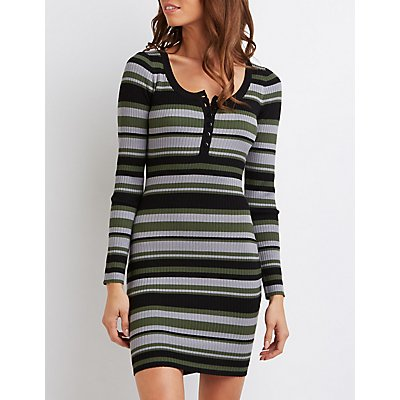 Striped Henley Sweater Dress