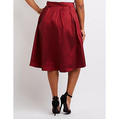 Plus Size Metallic High-Low Midi Skirt