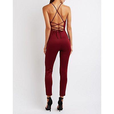 Lace-Up Back Jumpsuit