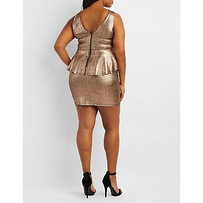 Plus Size Shimmer Caged Peplum Dress