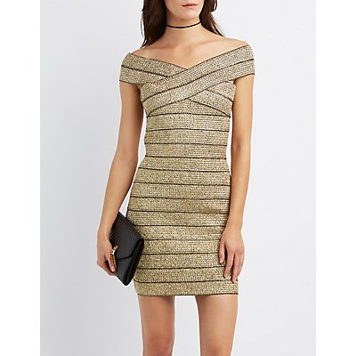 Metallic Off-The-Shoulder Bandage Dress