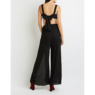 Surplice Cut-Out Split Leg Jumpsuit