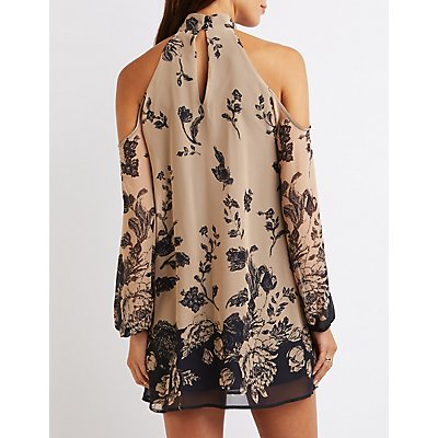 Floral Mock Neck Cold Shoulder Shift Dress