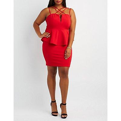 Plus Size Strappy Peplum Bodycon Dress
