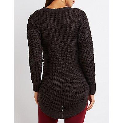 Waffle Stitch Tunic Sweater
