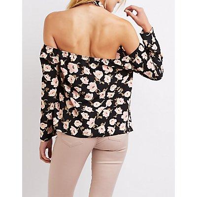 Floral Lace-Trim Mock Neck Top