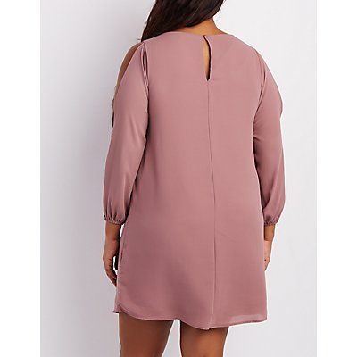 Plus Size Lattice Split Sleeve Shift Dress