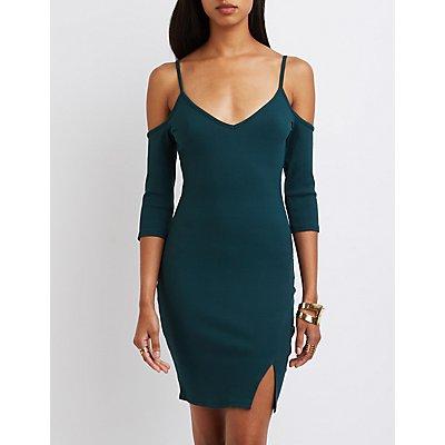 Ribbed V-Neck Cold Shoulder Dress