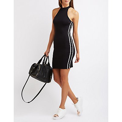 Varsity Striped Mock Neck Dress