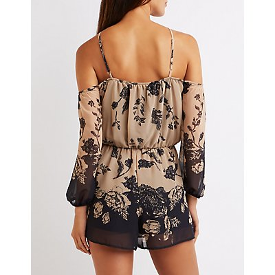 Floral Strappy Cold Shoulder Romper