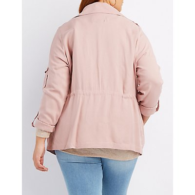 Plus Size Draped Utility Anorak