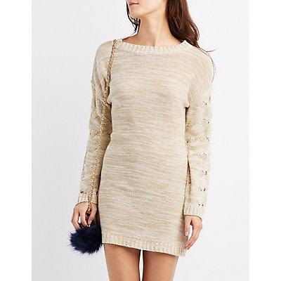 Pointelle Sleeve Sweater Dress