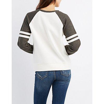 Raglan Varsity Stripe Sweatshirt