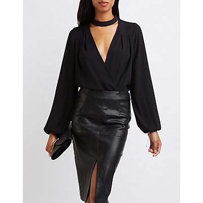 Floating Mock Neck Surplice Bodysuit
