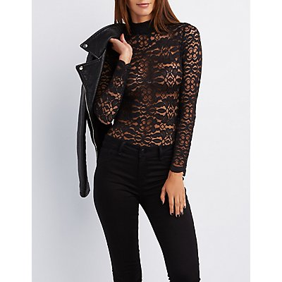 Lace Mock Neck Caged Bodysuit
