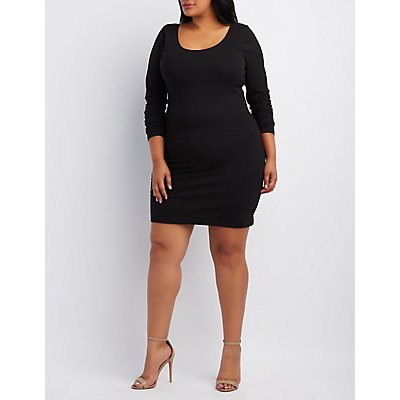 Plus Size Caged-Back Bodycon Dress