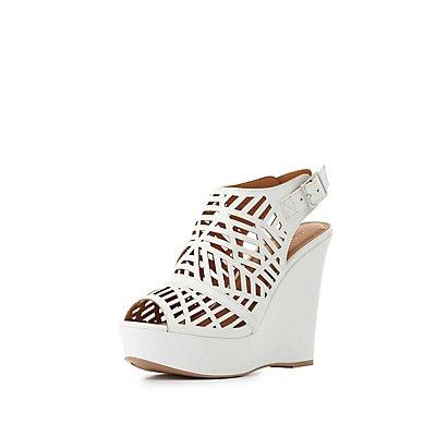 Laser Cut Wedge Sandals