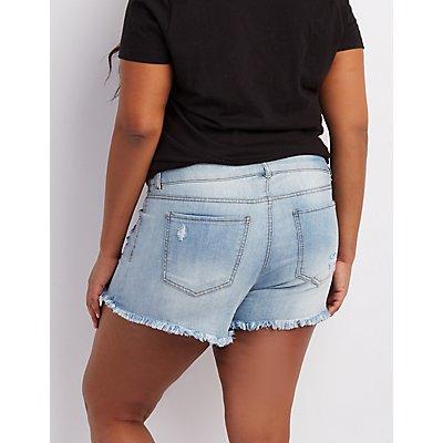 Plus Size Refuge Mid-Rise Shortie Denim Shorts