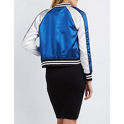 Satin Varsity Colorblock Bomber Jacket
