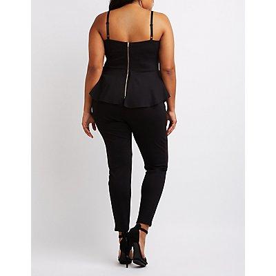 Plus Size Notched Peplum Jumpsuit