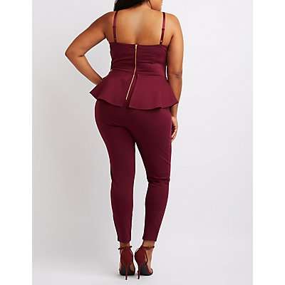 Plus Size Notched Peplum Jumpsuit