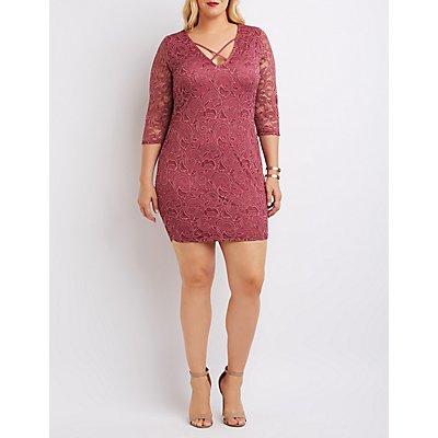 Plus Size Strappy Lace Bodycon Dress