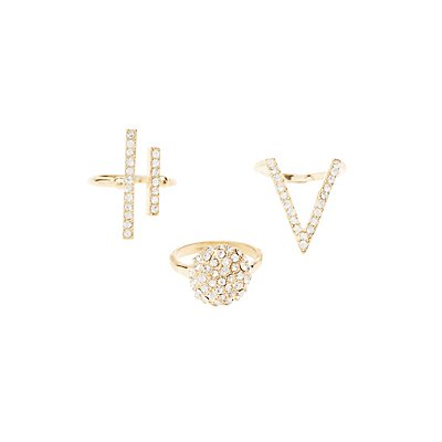 Plus Size Embellished Statement Rings - 3 Pack