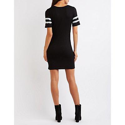 Sequin Football T-Shirt Dress