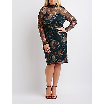 Plus Size Floral Mesh Mock Neck Dress