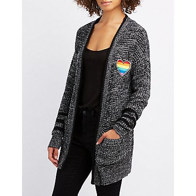 Patched Varsity Stripe Boyfriend Cardigan
