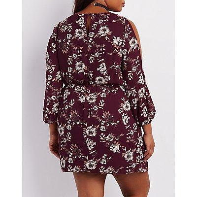Plus Size Floral Lattice Cold Shoulder Dress