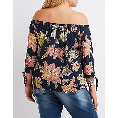 Plus Size Floral Off-The-Shoulder Tie Sleeve Top