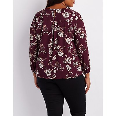 Plus Size Floral Lattice-Front Blouse