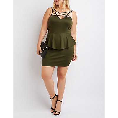 Plus Size Strappy Peplum Bodycon Dress