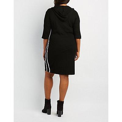 Plus Size Striped Hooded Midi Dress