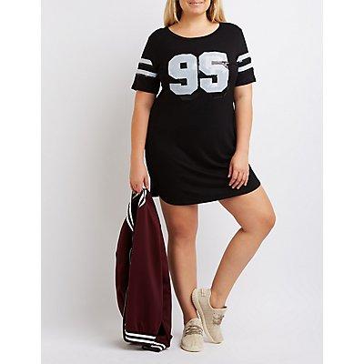 Plus Size Sequin Football T-Shirt Dress