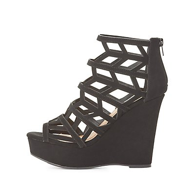 Qupid Caged Wedge Sandals