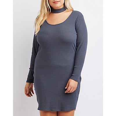 Plus Size Ribbed Choker Neck Dress