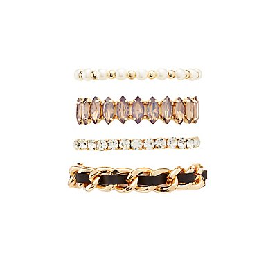 Embellished Layering Bracelets - 4 Pack