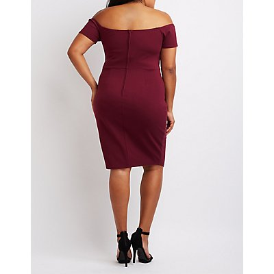 Plus Size Notched Off-The-Shoulder Bodycon Dress