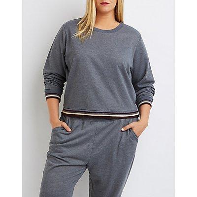 Plus Size Varsity Striped Cropped Sweatshirt