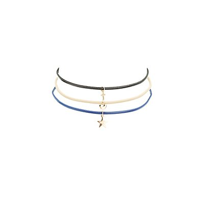 Faux Leather Choker Charm Necklaces - 3 Pack