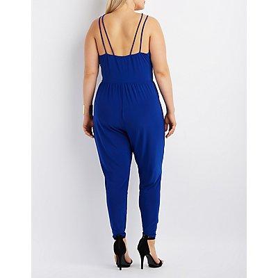 Plus Size Caged T-Strap Jumpsuit